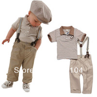 Boy Summer Turn-down Collar 5 sets lot Baby clothes sets cool boy suit striped overalls set summer infant garment Wholesale And Retail