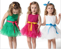TuTu Summer A-Line 5 Pcs Lot New Fashion The Summer Kids Girls Baby Child Sleeveless Party Birthday Wedding Princess Tutu Ball Gown Dresses Sashes D013037