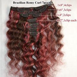 Extensión del pelo humano clip de la cabeza llena en venta-Clips brasileños 14inch en los clips de pelo humano del enrollamiento profundo de la extensión del pelo en la extensión del pelo, clips en cabello brasileño del pelo 7pcs / set una cabeza llena