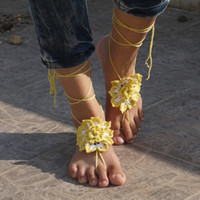 Wholesale Barefoot sandals Daisy crochet nude shoes Bride bridesmaids wedding spa hotel foot jewelry victorian lace sexy yoga anklet beach