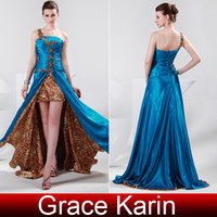 Wholesale Brand New Prom Dresses Leopard Print One Shoulder Crystal Evening Gowns Dress CL4407