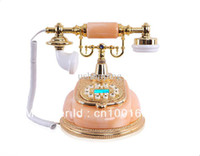 Wholesale ship by EMS European stylish telephone jade with metal retro telephone Luxury craft ornaments Caller ID Jade telephone