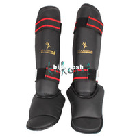 Wholesale KangRui PU EVA Thai Boxing Taekwondo Leggings Calf Lower Leg Shin Instep Protect Protector Training MMA Black