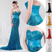 Shining Sequins Mermaid Evening Dresses Sweetheart Floor Len...