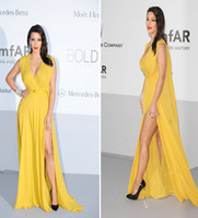 Reference Images V-Neck Chiffon Side Slit V-Neck Yellow 2014 kim kardashian Dress Sheath Chiffon Sash celebrity red carpet Court Train Evening Gowns 2014 Prom Dresses H11