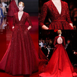Elie Saab Arrival V Neck long Sleeve Open Back Royal Train ultimate Luxury red Prom Evening Dress with Bead Stain cuatom made