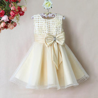 Girl Spring / Autumn Sleeveless 2014 Newest Style Kids Princess Dress Girls Yellow Flower Party Dresses With Bow Christmas Kids Clothes GD31115-19