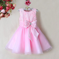 Wholesale 2014 New Arrival Kids Flower Dresses Baby Pink Princess Party Dress With Bow Girls New Year Fashion Children Wear Hot Seller GD31115