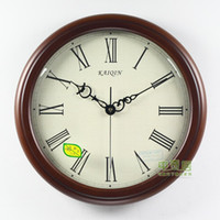 Wholesale ship by EMS Large fashion solid wood living room wall clock silent movement aj38we