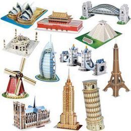 Freeshipping! MINI CubicFun 3D Puzzle,13 Famous buildings 3D paper model DIY puzzle Educational toys for kids
