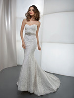 Trumpet/Mermaid Model Pictures Sweetheart 2014 winter sexy backless sweetheart chapel train lace white trumpet style wedding dress bridal gown custom made Demetrios 1443