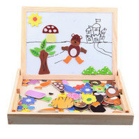Unisex animal exercise pen - Animal Magnetic Puzzle Wooden Children Two Sides Multifunction Writing Drawing Board Blackboard Fantastic Easel Educational Toys