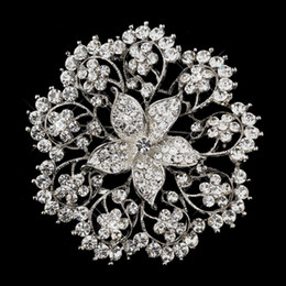 "3"" Extra Large Size Rhinestone Crystal Wedding Bridesmaid Large Pin Flower Brooch Jewelry"