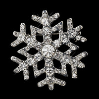 Wholesale 1 quot Rhodium Silver Alloy and Rhinestone Crystal Diamante Christmas Snowflake Brooch