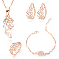 Wedding Jewelry Sets Celtic Gift 18K Rose Gold[ Fatal Attraction ] hollow diamond flower earrings necklaces bracelets jewelry Necklace Earring denim dress