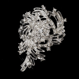 Fabulous vintage Rhodium Silver Rhinestone Crystal Party Brooch Wedding Party Gifts Accessory