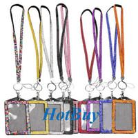 Wholesale Shining Rhinestone Crystal Lanyard Sling Vertical Card ID Badge Holder