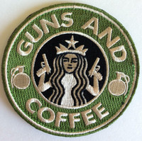 Wholesale 3 quot VELCRO PATCH Tactical Guns and Coffee Velcro Morale Military Biker Vest Heavy Metal Badge