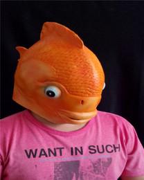 Goldfish Head Mask Creepy Animal Halloween Costume Theater Prop Novelty Latex Rubber Funny Fish Mask Free Shipping