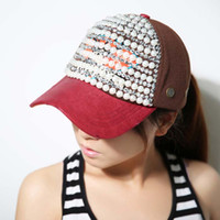 Wholesale Top Quality Sports Hats Caps Adjustable Snapback hats Ball Caps with pearl For Girls