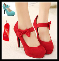 Wholesale Women Red Bow Wedding Heel Shoes Sexy Mary Jane Strappy Synthetic Suede Pumps Colors ePacket