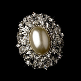 Vintage Style Antique Silver Oval Diamond Ivory Pearl Brooch