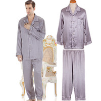 Wholesale 2013 NWT autumn male mens silk satin pajamas sets long sleeve sleepwear nightwear pc top trousers twinset lounge pants