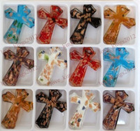 Wholesale ps Gold foil Murano Glass Cross Pendant Fashion Jewelry MM