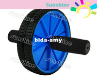 Wholesale 2sets Blue New Dual Abdominal Ab Roller Wheel Exerciser Workout Roller Exercise