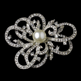 Vintage Look Silver Clear Diamond White Pearl Brooch Prom Party Pins