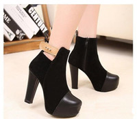 Ankle Boots Cotton Chunky Heel .Wholesale - Hot Sale New winter Women's boots Artificial pu leather Side zipper design High heel boots Naked boots