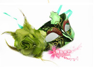 Wholesale 10 Women Sexy Hallowmas Venetian mask masquerade masks with flower feather mask dance party mask
