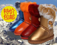 Wholesale Hot Sale Children snow boots boys and girls waterproof boots rabbit hair winter boots children shoes real leather boots