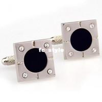 Wholesale 9ct gold cufflinks big black onyx mosaic white crystal square cufflnksman s copper and white steel