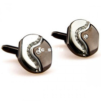 Wholesale cufflinks sale White carbon fiber round black men cufflinksman s copper and white steel