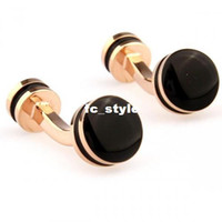 Cuff Links Men's Copper silver ring black precious stones round gold cufflnksman's copper and white steel