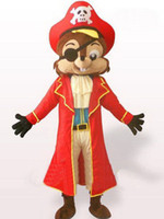 Mascot Costumes Unisex Costum Made Factory direct sale Hot New Pirate Squirrel Mascot Costume Adult For Halloween! free shipping