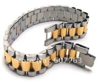 Precio de Bandas de acero inoxidable enlaces-Pulsera de los hombres del acoplamiento de la venda del acero inoxidable 316L con el oro medio de la pieza plateado BYS099
