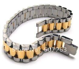 Bandas de acero inoxidable enlaces en Línea-Pulsera de los hombres del acoplamiento de la venda del acero inoxidable 316L con el oro medio de la pieza plateado BYS099