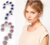 Wholesale Fashion European Silver Plated Alloy Crystal Rhinestone Flower Ear Clip Ear Cuff