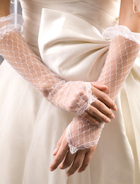 Wholesale 2014 New Style In stock Tull Lace Elbow Wedding Glove Bridal Gloves Fingerless Accessories