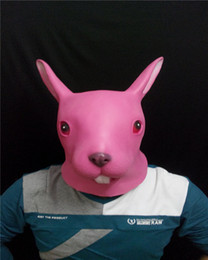 Party Mask Rabbit Head Mask Creepy Animal Halloween Costume Theater Prop Novelty Latex Rubber Funny Pink Rabbit Mask Free Shipping
