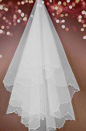2020 Hot Style Cheap 2T White Ivory Wedding Bridal Pearls Ribbon Edge Comb Veil Bridal Veils