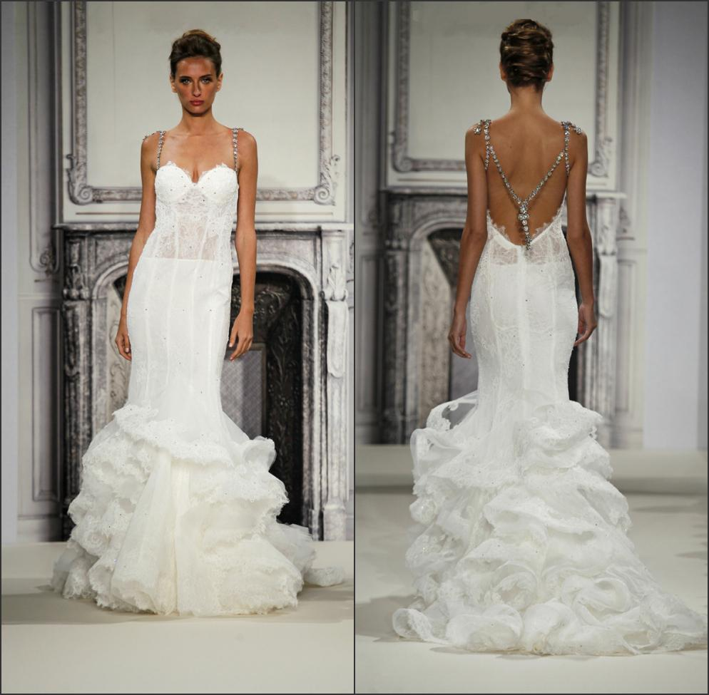 Hot pninatornai bridal gown trumpet sweetheart with for Backless wedding dresses designer