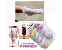Christmas Socks Women Wholesale 10pairs lot Cute Children Princess Girls Lace Cotton Socks Mixed-colors Packing Decorative Border Socks Free Shipping