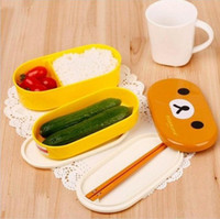 Wholesale Home Dinnerware Sets Heat Preservation Rilakkuma Children Lunch Box Bento Box Two Shapes Lunch Boxes