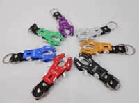 Wholesale Small Pliers Style Aluminium Alloy Carabiner Clip Climb Hook Lock With Double Keyrings For Outdoors