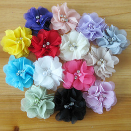 Wholesale Baby Hair Product DIY Mini Chiffon Flowers Whit Pearl Rhinestone Children Accessories colors drop shipping