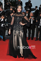 Reference Images A-Line Celebrity Dresses Free Shipping By UPS Queen Style Black Embroidery Applique Long Sleeve Sonam Kapoor Celebrity Red Carpet Dress 2014
