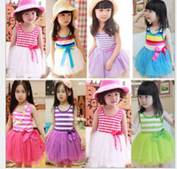 TuTu Summer Pleated New Fashion Summer Kids Baby Girls Ball Gown Rainbows Stripes Tulle Tutu Ruffle Princess Party Fairy Vest the Veil Bow Cotton Dresses